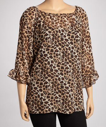 Brown Cheetah Cape-Sleeve Top - Plus
