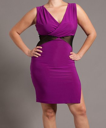 Magenta Sheer Cutout Surplice Dress - Plus