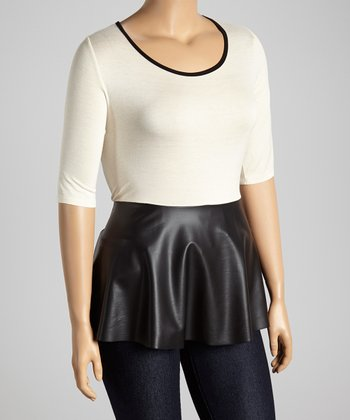 Ivory & Black Faux Leather Peplum Top - Plus