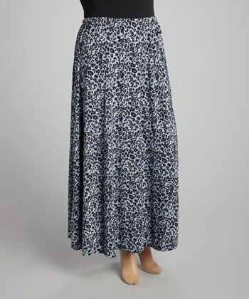 Gray Leopard Maxi Skirt - Plus