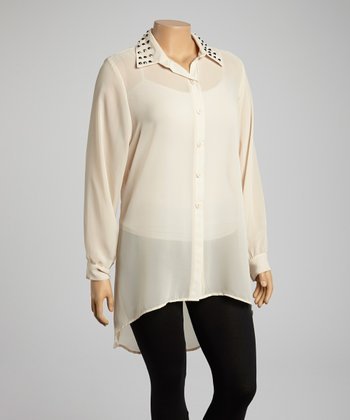 Beige Button-Up Tunic - Plus
