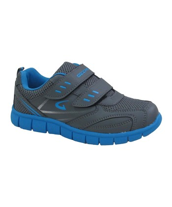 Gray & Blue Double-Strap Running Shoe