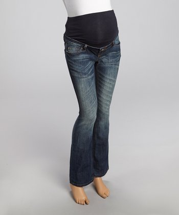 Vintage Denim Over-Belly Maternity Straight-Leg Jeans