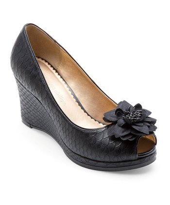 Black Python Courtney Peep-Toe Wedge