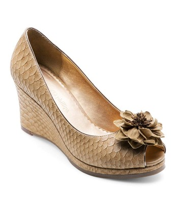 Tan Python Courtney Peep-Toe Wedge