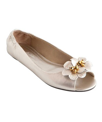White & Gold Kate Peep-Toe Flat - Women