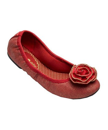 Red Canvas Liz Ballet Flat - Women