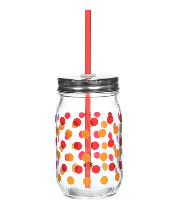 Red & Orange Dot Glass Mason Jar - Set of Four