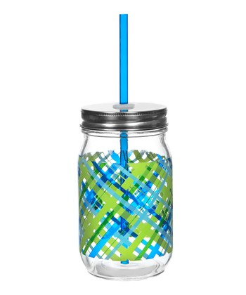 Cool Plaid Glass Mason Jar - Set of Four