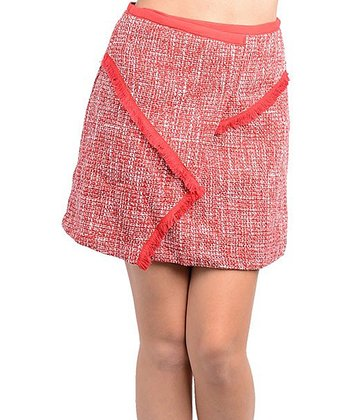 Red Tweed Wool-Blend Skirt