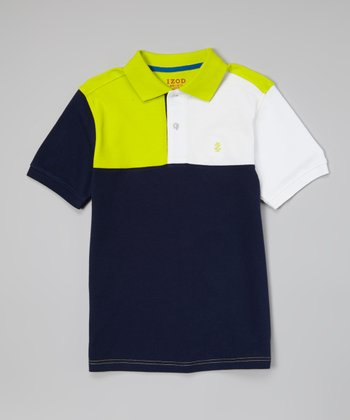 Bank Blue & White Color Block Polo - Toddler & Boys