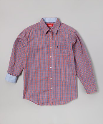 Red & Blue Plaid Button-Up - Boys