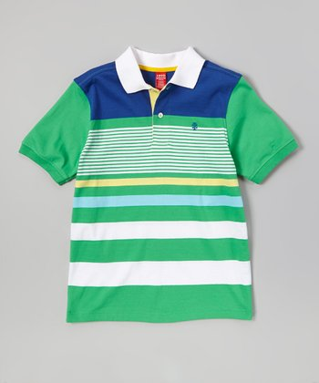 Green & Blue Stripe Polo - Boys