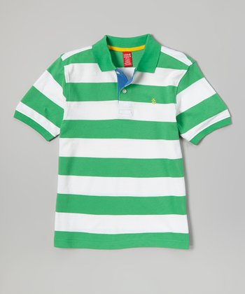 Green & White Stripe Polo- Boys