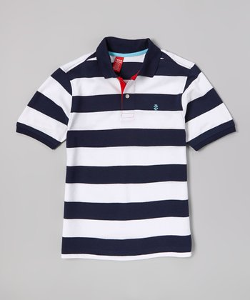 White & Blue Stripe Polo - Boys