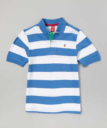 White & Light Blue Stripe Polo - Boys