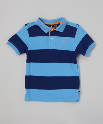 Light Blue & Navy Stripe Polo - Toddler & Boys