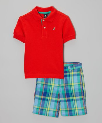 Bright Orange Polo & Blue Plaid Shorts - Toddler