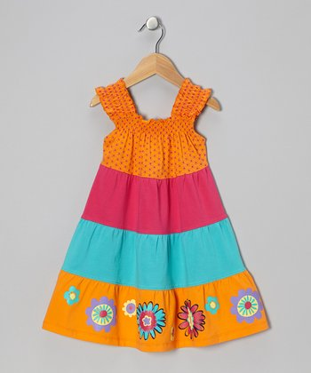 Orange Peel Tiered Shirred Dress - Toddler & Girls