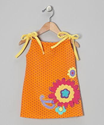 Orange Peel Flower Swing Dress - Girls