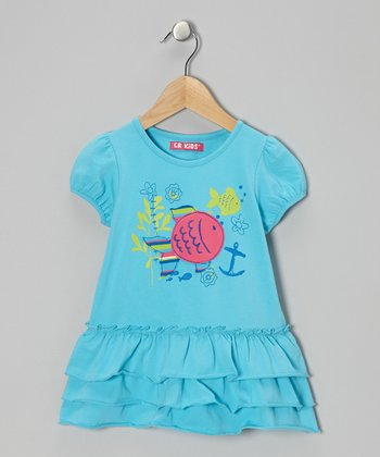 Turquoise Fish Ruffle Tunic - Infant, Toddler & Girls