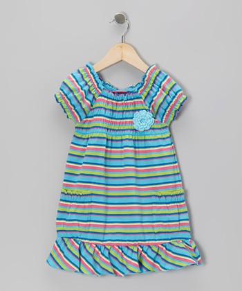 Blue Stripe Flower Shirred Dress - Infant, Toddler & Girls