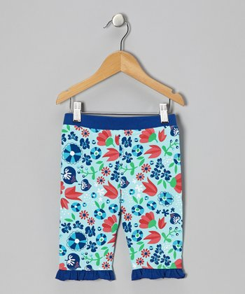 Ice Blue Tulip Ruffle Bike Shorts - Infant, Toddler & Girls
