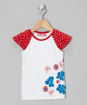 White & Red Polka Dot Flower Raglan Top - Infant & Toddler