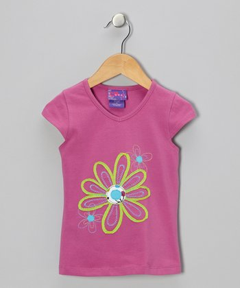 Bright Violet Flower Cap-Sleeve Tee - Infant & Girls