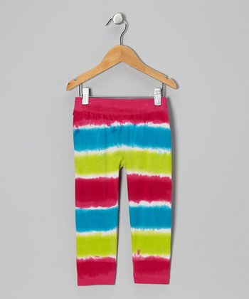Fuchsia Tie-Dye Stripe Capri Pants - Infant, Toddler & Girls