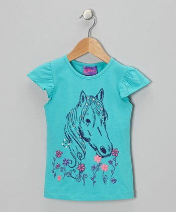 Teal Rhinestone Horse Angel-Sleeve Tee - Infant & Girls