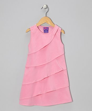 Sachet Pink Diagonal Ruffle Dress - Toddler & Girls