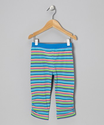 Blue Stripe Cinched Capri Pants - Infant, Toddler & Girls