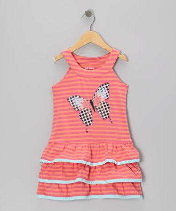 Orange Stripe Butterfly Ruffle Yoke Dress - Toddler & Girls