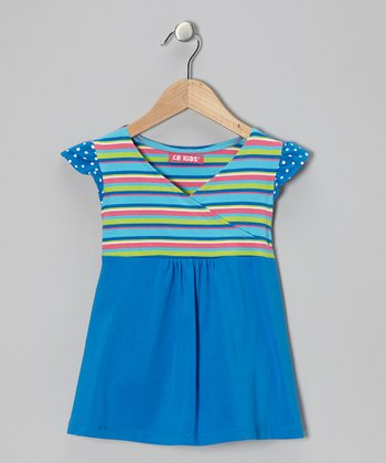 Blue Stripe Surplice Tunic - Toddler & Girls