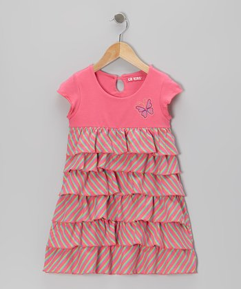 Pink Stripe Butterfly Tiered Dress - Girls