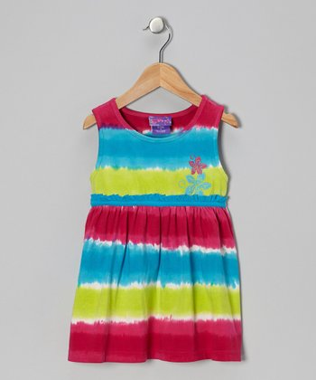 Turquoise & Fuchsia Tie-Dye Stripe Tunic - Toddler & Girls