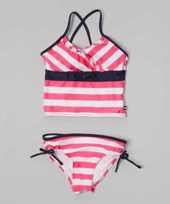 Nautica White & Pink Stripe Tankini - Girls