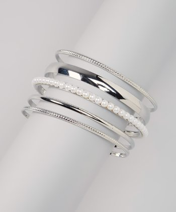 Silver & White Bangle Set