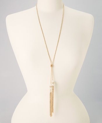 Gold & Ivory Pearl Chain Tassel Necklace