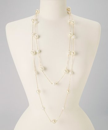 Ivory & Silver Two-Strand Pearl Chain Necklace