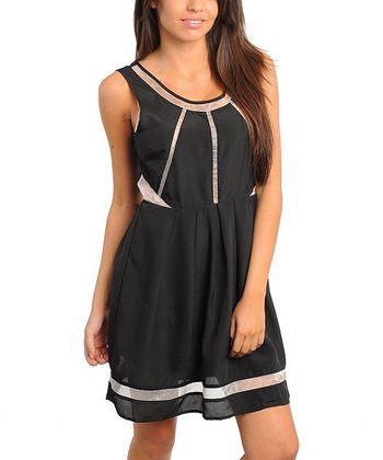 Black & White Sheer Panel Sleeveless A-Line Dress