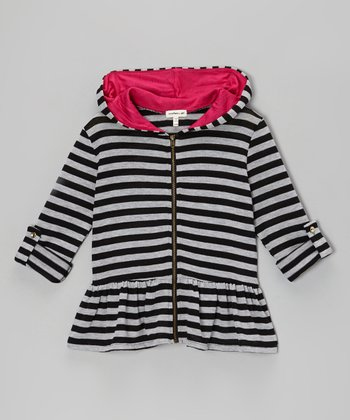 Heather Gray & Black Stripe Peplum Zip-Up Hoodie - Girls