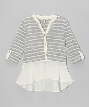 Heather Gray & Ivory Stripe Chiffon Henley - Girls