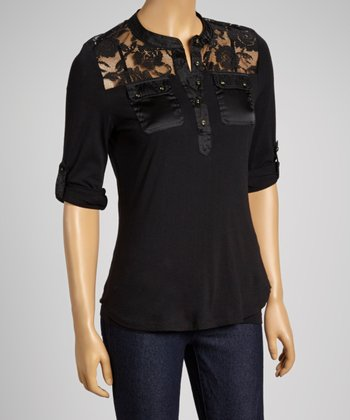 Black Lace-Shoulder Henley
