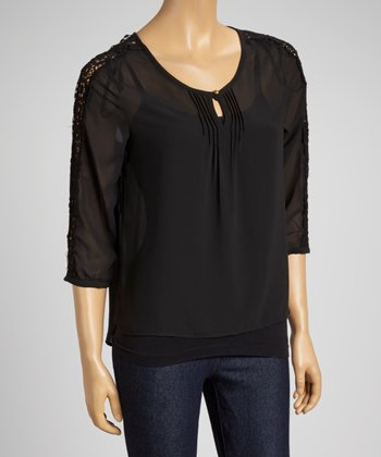 Black Lace-Sleeve Scoop Neck Top