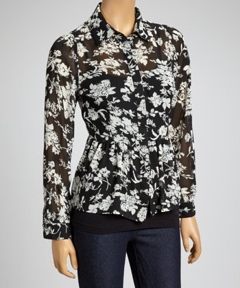 Black & White Floral Hi-Low Button-Up