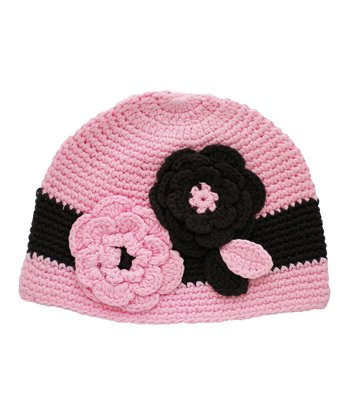 Chocolate & Pink Flower Crocheted Beanie