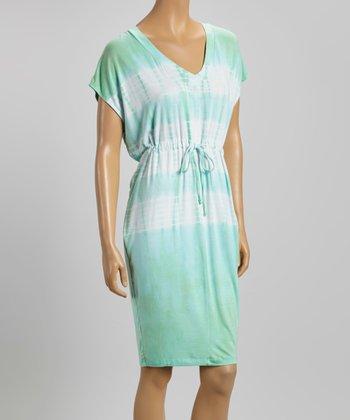 American Buddha by Yogi Cyan Tie-Dye Belted V-Neck Dress
