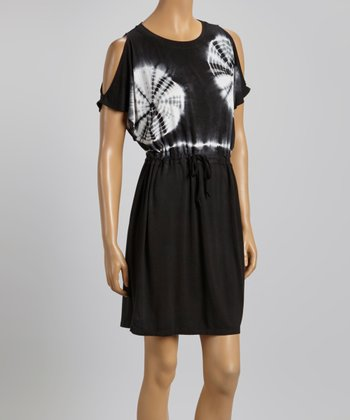 American Buddha by Yogi Black Tie-Dye Belted Cutout Dress